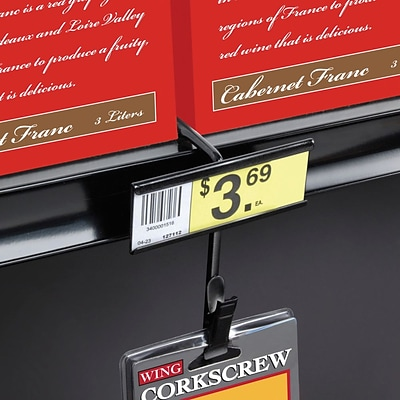FFR Merchandising Metal Merchandising 12 Station Shelf-Top Strip, Black, 8/Pack (7003997216)
