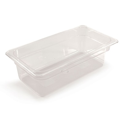 FFR Merchandising Cold Food Pans and Covers, 4 D, Clear, Third Pan, 3.9 qt, 4/Pack (9922510611)