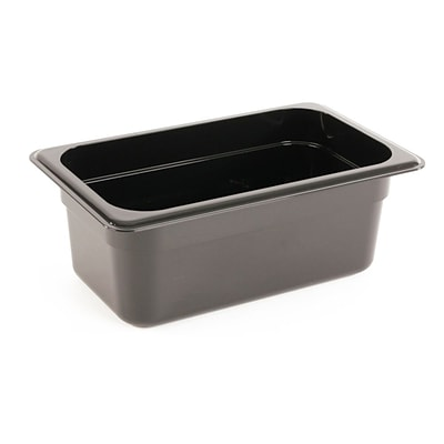 FFR Merchandising Cold Food Pans and Covers; 4 D, Black, Fourth Pan, 2.7 qt, 4/Pack (9922510614)