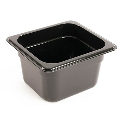 FFR Merchandising Cold Food Pans and Covers; 4 D, Black, Sixth Pan, 1.7 qt, 6/Pack (9922510618)