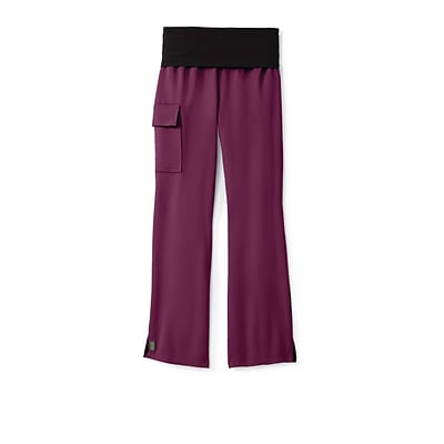 Ocean AVE™ Ladies Yoga Elastic Waist Scrub Pant, Wine, Medium