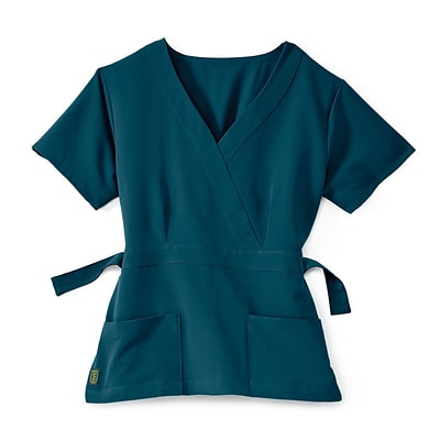Park AVE.™ Mock Wrap Ladies Scrub Top, Caribbean Blue, 2XS