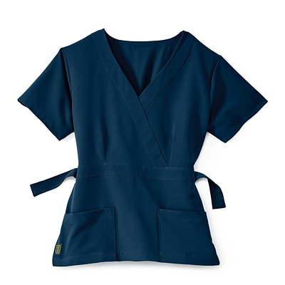 Park AVE™ Mock Wrap Ladies Scrub Top, Navy, Large