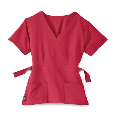 Park AVE.™ Mock Wrap Ladies Scrub Top, Pink, 2XS