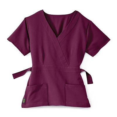 Park AVE™ Mock Wrap Ladies Scrub Top, Wine, Small