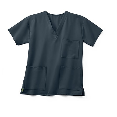 Madison AVE™ Unisex Scrub Top With 3 Pockets, Charcoal, 2XL