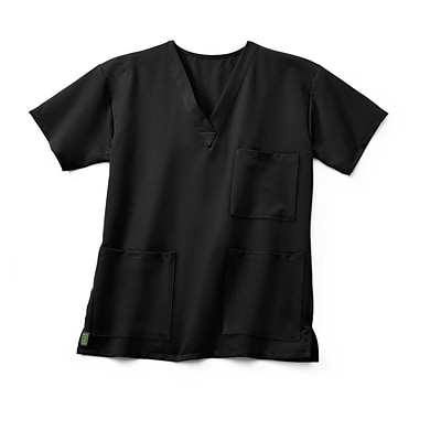 Madison AVE™ Unisex Scrub Top With 3 Pockets, Black, XS