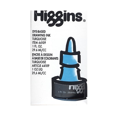 Higgins Dye-Based Drawing Ink, Turquoise / Non-Waterproof 1 oz. [Pack of 4]