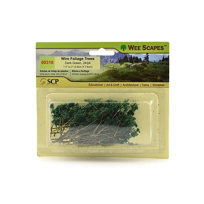 Wee Scapes 70404-Pk3 Architectural Model Trees, Wire Foliage (Dark Green), 1 1/2 - 3, 3/Pack