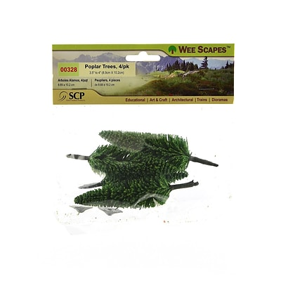 Wee Scapes 70412-Pk3 Architectural Model Trees Poplar Trees, 3-1/2-In To 4In, Pack Of 4, 3/Pack