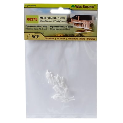 Wee Scapes Architectural Model White Styrene Figurines Human Males 1/8 In. Pack Of 10 [Pack Of 3]
