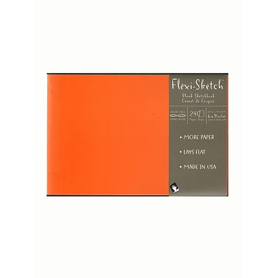 Global Art Flexi-Sketch Sketchbooks, 6in X 9in, Landscape, Mandarin, 3/Pk