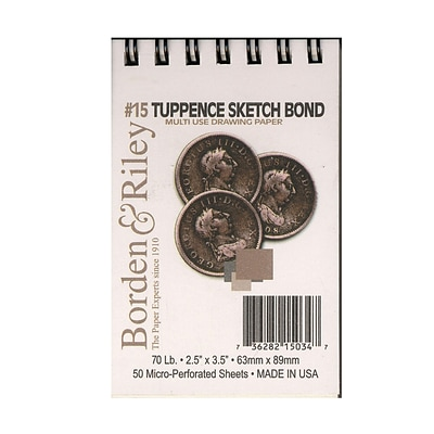 Borden And Riley #15 Tuppence Sketch Bond 2 1/2 X 3 1/2 50 Sheets, 6/Pack (46801-Pk6)