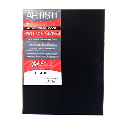 Fredrix Red Label Stretched Cotton Canvas, 20 X 24, Black (91073)