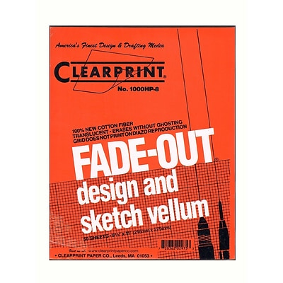 Clearprint Fade-Out Design And Sketch Vellum - Grid Pad 8 X 8 8 1/2 In. X 11 In. Pad Of 50