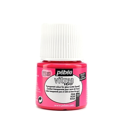 Pebeo Vitrea 160 Glass Paint Pink Frosted 45 Ml [Pack Of 3]