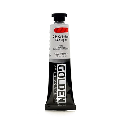 Golden Open Acrylic Colors, Cadmium Red Light (Cp), 2Oz Tube (93600)