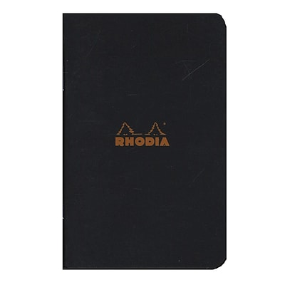 Rhodia Staplebound Notebooks Graph, Black Cover, 3 X 4 3/4, 24 Sheets, 10/Pack (92590-Pk10)