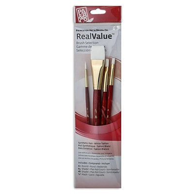 Princeton Real Value Series 9000 Red Short Handled Brush Sets 9125 Set Of 4