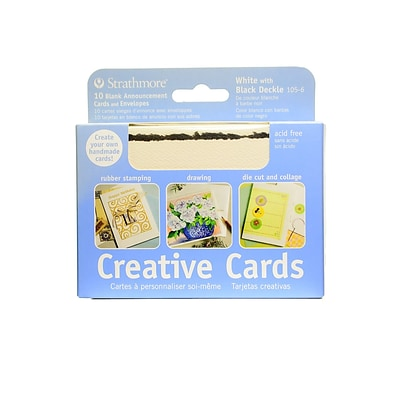 Strathmore Announcement Card Fluorescent White With Black Deckle Pack Of 3 (20922-Pk3)