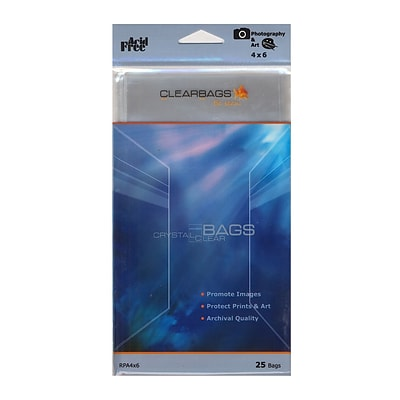 Clearbags Crystal Clear Photography And Art Bags 4 In. X 6 In. Pack Of 25 [Pack Of 6]