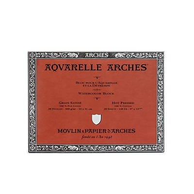 Arches Aquarelle Watercolor Block, 140Lb, Hot Press, 9 X 12 (40079)