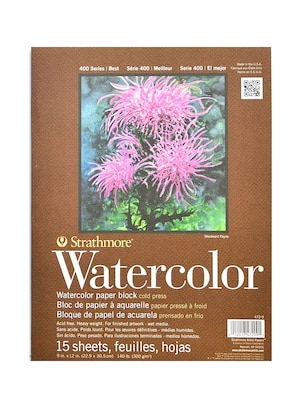 9x12 Bound 15 Sheets//Block Strathmore 400 Series Watercolor Block 2 Pack 4 Sides Cold Press