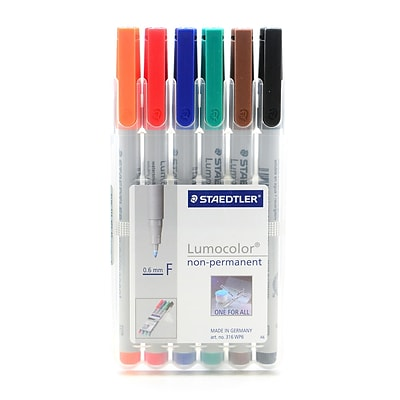 Staedtler Lumocolor Non-Permanent Overhead Projection Markers assorted colors fine 0.6 mm set of 6