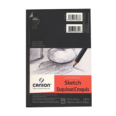 Canson Universal Heavyweight Sketch Pads 5 1/2 In. X 8 1/2 In. 100 Sheets [Pack Of 3]