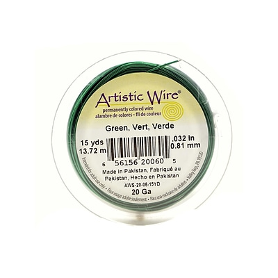 Artistic Wire Spools 15 Yd. Green 20 Gauge [Pack Of 4]