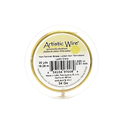 Artistic Wire Spools 20 Yd. Non-Tarnish Brass 24 Gauge [Pack Of 4]