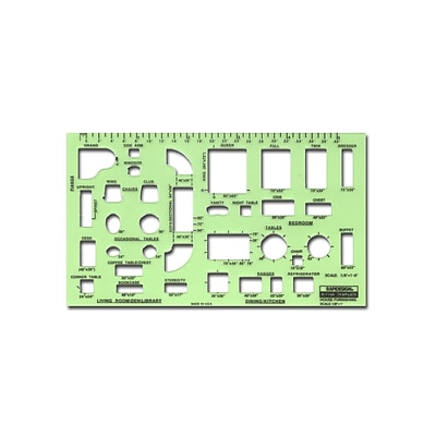 Rapidesign Interior Drafting And Design Templates House Furnishings 1/8 In. = 1 Ft.