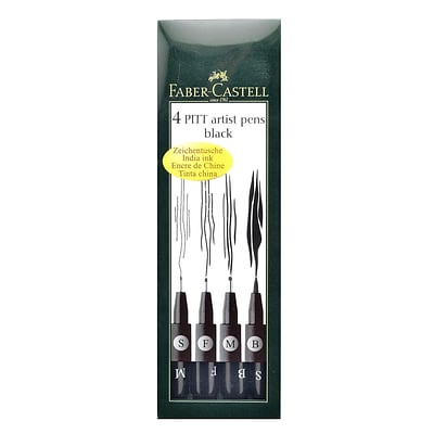 Faber-Castell Pitt Artist Pen Wallet Sets black set of 4