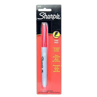 Sharpie Fine-Point Markers, Carded, Red, 18/Pack (65999-PK18)