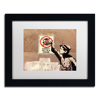 Trademark Fine Art Banksy Street Art is a Crime 11 x 14 (ALI0813-B1114MF)