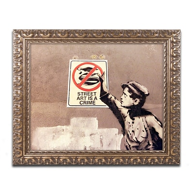 Trademark Fine Art Banksy Street Art is a Crime 11 x 14 (ALI0813-G1114F)