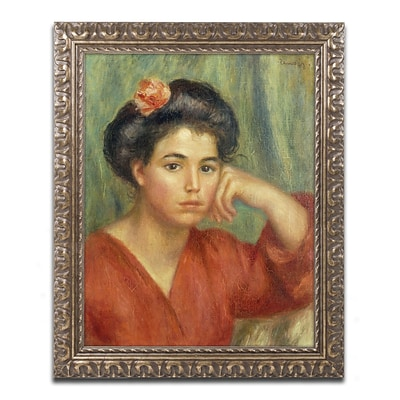 Trademark Fine Art Pierre Renoir Young Woman with a Rose 1907 11 x 14 (BL01477-G1114F)