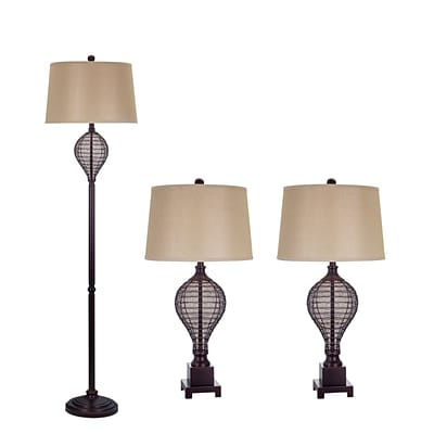 Fangio Lighting 3PC Lamp Set, Oil Rubbed Bronze Finish (3859)