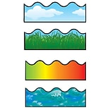 Carson-Dellosa 156 x 2.25 Scalloped Border Set I, Clouds, Grass, Rainbow, and Ocean Waves 144028