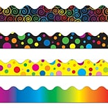 Carson-Dellosa Scalloped Border Set IV, Rainbow, Big Rainbow Dots, Rainbow Swirls & Colorful Dots