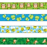 Carson-Dellosa 144548 144 x 3 Variety Straight Border Set, Woodland Owls, Frogs, Bees, and Monkeys