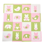 Tadpoles 16 Piece Teddy and Friends Playmat Set; Light Pink/White/Green
