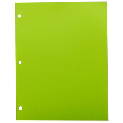 JAM Paper® Bright Color Paper - 8.5 x 11 - 24 lb. Brite Hue Ultra Lime Green 3 Hole Punch - 100/pack