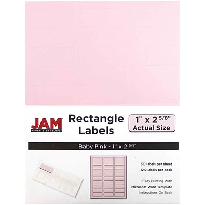 JAM Paper® Mailing Address Labels, 1 x 2 5/8, Baby Pink, 120/pack (4052895)