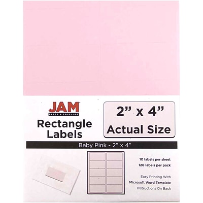 JAM Paper® Shipping Address Labels, Standard Mailing, 2 x 4, Baby Pink, 120/Pack (4052897)