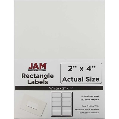 JAM Paper® Mailing Address Labels, 2 x 4, White, 120/pack (4062901)