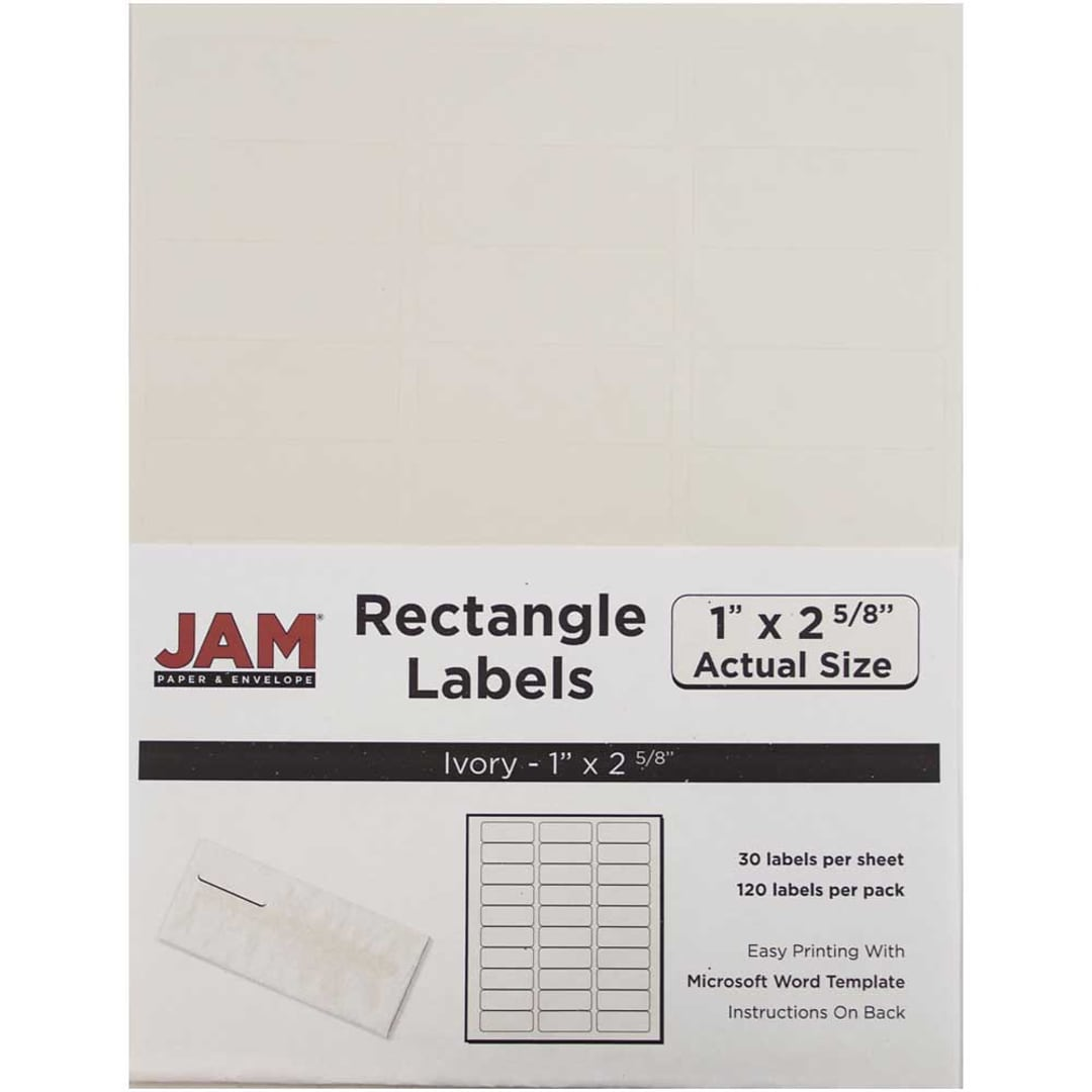 JAM Paper® Mailing Address Labels, 1 x 2 5/8, Ivory, 120/pack ...