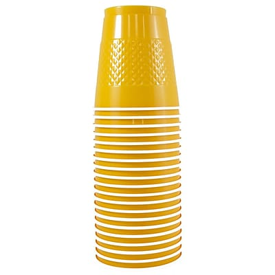 JAM Paper® Plastic Cups, 12 oz, Yellow, 20/pack (255523919)