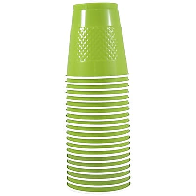 JAM Paper® Plastic Cups, 12 oz, Lime Green, 20/pack (2255520704)