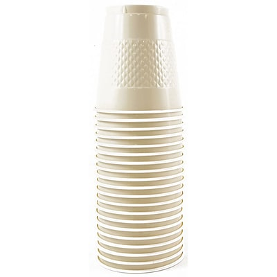 JAM Paper® Plastic Cups, 12 oz, Ivory, 20/pack (2255520709)